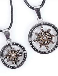 z&(creux pendentif gouvernail) le collier en argent pendentif en alliage de x® mode couple (2 pcs)