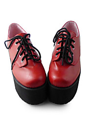 Handmade Red PU Leather 8cm Platform Gothic Lolita High-heeled Shoes