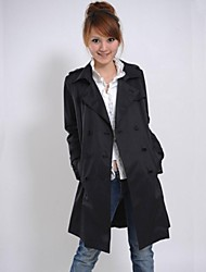 Women's Black Trench Coat Long Sleeve Polyester