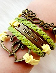 Women's Vintage Fashion Multideck Heart LOVE Braided Bracelet