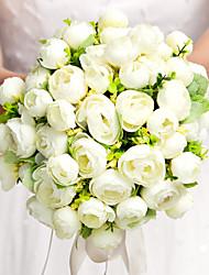 Fleurs de mariage Rond Roses Bouquets Mariage Soie Blanc Env.28cm