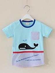 Круглым воротом Мальчика Кит Печать с короткими рукавами футболки