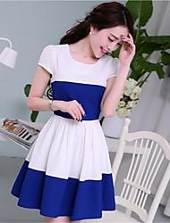 Damen Rundhals Streifen Spleißen Casual Dress