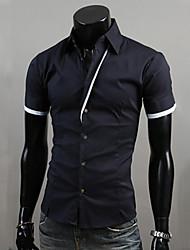 Uomo Caratteristiche abbottonatura sottili Stripes Fashion contrasto di colore Shirts