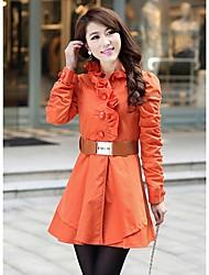 Damen Solide Übergröße Trenchcoat,Winter Langarm Beige / Orange Mittel Andere