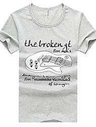 Herren T-shirt-Druck Freizeit Baumwolle Kurz-Weiß / Gelb / Grau