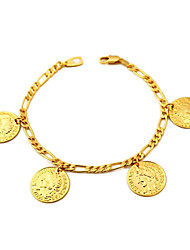 U7® Figaro Chains Gold Filled Coin Charms Bracelets Bangles 18K Real Gold Plated with 18K Stamp 2MM 21CM