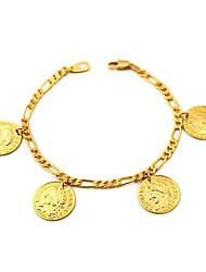 u7® chaînes figaro or rempli de pièces charmes bracelets bracelets réelle 18k plaqué or 18 carats avec cachet 2mm 21cm