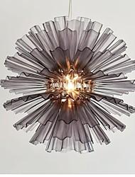 UMEI™  Acrylic Pendant, 1 Light, Smoky Acrylic Iron Plating