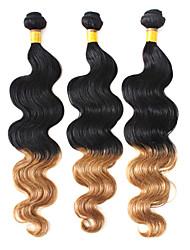 100% Echthaar Weaving Two Tone Farbe brasilianische Virgin Ombre Haar 16Inches Körper-Welle
