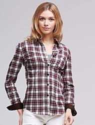 Collar Turn-Down de Veri Gude femmes British Style Patchwork Plaid Shirt
