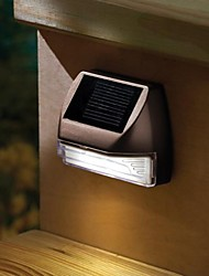 2-LED Plastic White Mini Rectangle Solar Deck Light Solar Stairs Lamp wall Light