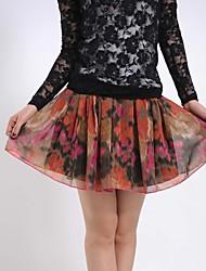 Women's Mini Skirts , Cotton Blends Inelastic Orange