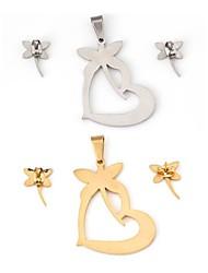 Dragonfly amoroso modello metallico cuore con diamante orecchino di goccia (1set)