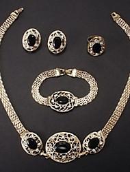 Oval Stones Rhinestone Jewelry Set (Include Earrings,Rings, Bracelets, Necklaces)