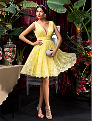 Homecoming Bridesmaid Dress Knee Length Lace A Line V Neck Dress (1241476)