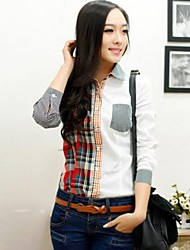 Veri gude Frauen Patchwork Plaid Langarm-Shirt