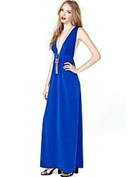 Damen Kleid - A-Linie Sexy / Leger Solide Knielang Polyester Tiefes V