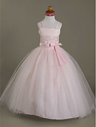 Lanting Bride ® Ball Gown Floor-length Flower Girl Dress - Satin / Tulle Sleeveless Sweetheart / Spaghetti Straps