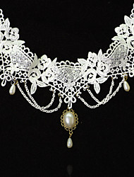 Omuto New Lace White Fashion Princess Aestheticism Pearl  Necklace(White)