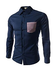 Men's Check Stitching Casual Long Sleeve Shirts