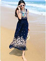 TS-Bohemia balanço Imprimir cintura elástica Praia Maxi Dress (Random Prints)