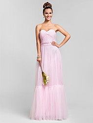 Sheath / Column Sweetheart Floor Length Tulle Bridesmaid Dress with Sash / Ribbon Criss Cross Ruffles by LAN TING BRIDE®
