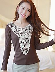Damen Patchwork T-Shirt - Spitze Langarm Rundhalsausschnitt