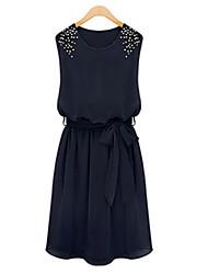 Yiya Women's Fitted Beads Chiffon Dress