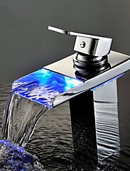 Personalized Bathroom Sink Faucet Contemporary Chrome Finish Brass Single Handle Waterfall with LED Light