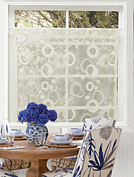 One Panel Country Elegant Bubbles Pattern Kitchen Sheer Curtain Drape