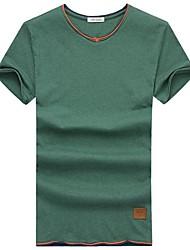 Herren T-shirt-Druck Freizeit Baumwolle Kurz-Blau / Grün / Orange / Weiß / Grau