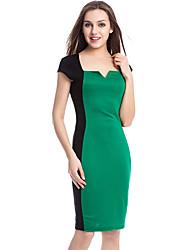 Shengyuan Women's European Sexy Contrast Color Sleevless Bodycon Dress(Green)