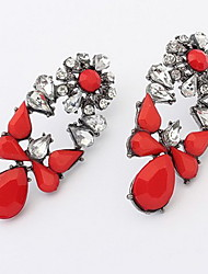 Kushang Retro Flower Gemstone Ear Studs (Red)
