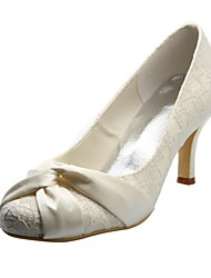 Elegant Satin and Lace Stiletto Heel Pumps Wedding Shoes(More Colors)