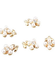 1PCS Gold 3D Alloy White Diamond & Imitation Pearl Leaf Nail Art Decorations