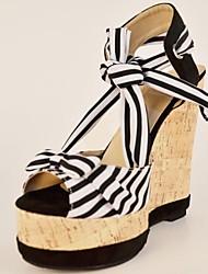 bc Schwarzweiss-Streifen Satin Damen Keilabsatz-Sandalen