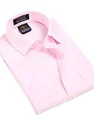 Turn-down col de U-requin hommes d'affaires manches courtes Modal Fibre shirts rose Vérifie rayures Blouse Top EOZY MD-022