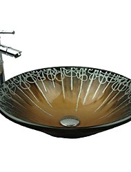 Red Copper  Hat Shape Tempered Glass Vessel Sink with Bamboo Faucet ,Pop - Up Drain and Mounting Ring