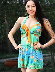 Moda feminina impresso Coletados Conjoined Halter Swimwear