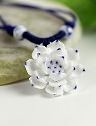 Blue and white Handwork Ceramic Lotus Design Pendant Necklace(White)