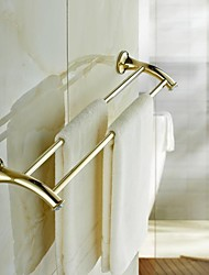 Contemporary Golden Crystal Brass Double Towel Bar