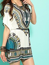 Women's Korean Style Slim Ethnic Totem Fashion Dress