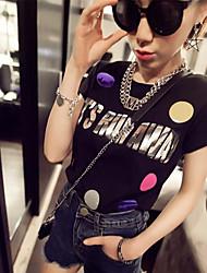 Women's Colorful Bubble Letters Short Sleeve T-shirt