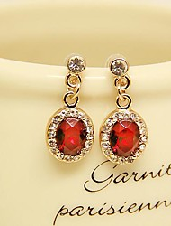 Fashion Jewelry Red Drop Earrings Set with Rhinestones