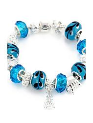Bleu bracelet en cristal Strand doux 6.3cm femmes (1 PC)