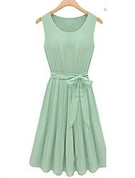 Nouveau style de Coco Zhang femmes toutes les sélections en mousseline de soie col rond robe