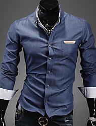 Estilo coreano Denim Luta bolso Pele camisa dos homens