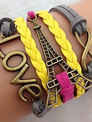 Women's Vintage Multideck Tower LOVE Braided Bracelet