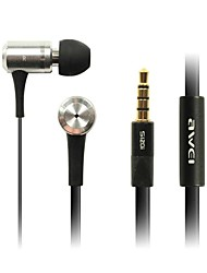 Moda Awei 100i 3,5 mm In-ear da liga de alumínio Super Bass Microfone Earphones-Samsung-Black/Red/Pink/Silver